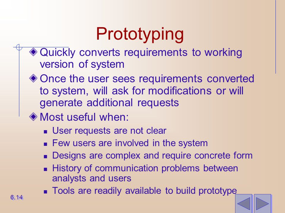 Prototyping Quickly converts requirements to working version of system