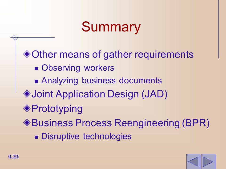 Summary Other means of gather requirements