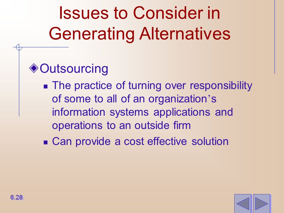 Issues to Consider in Generating Alternatives
