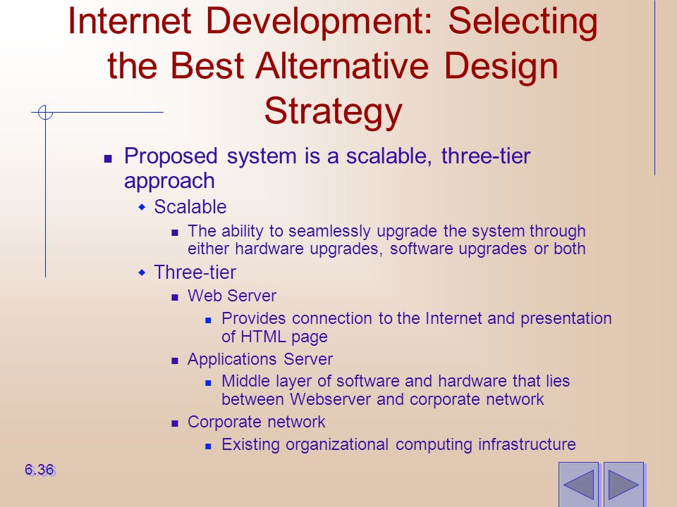 Internet Development: Selecting the Best Alternative Design Strategy