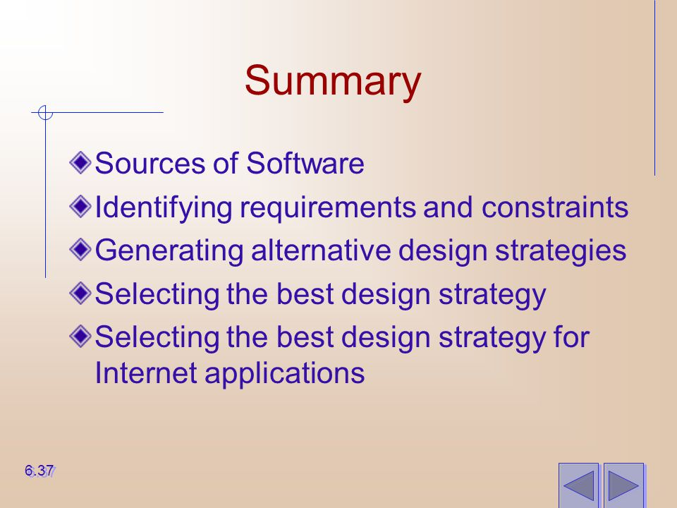 Summary Sources of Software Identifying requirements and constraints