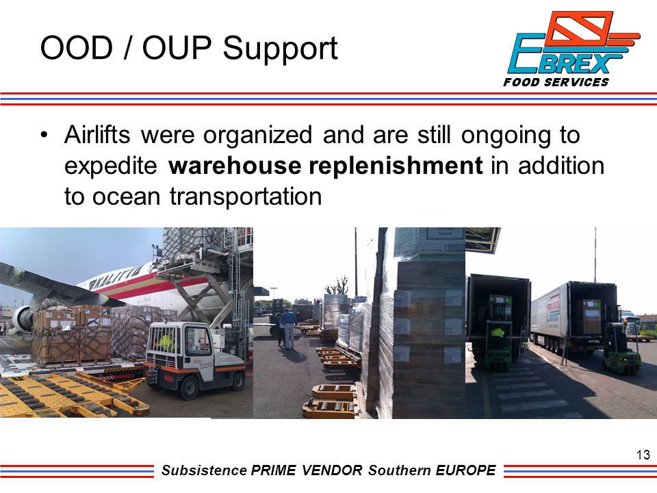 OOD / OUP Support Airlifts were organized and are still ongoing to expedite warehouse replenishment in addition to ocean transportation.