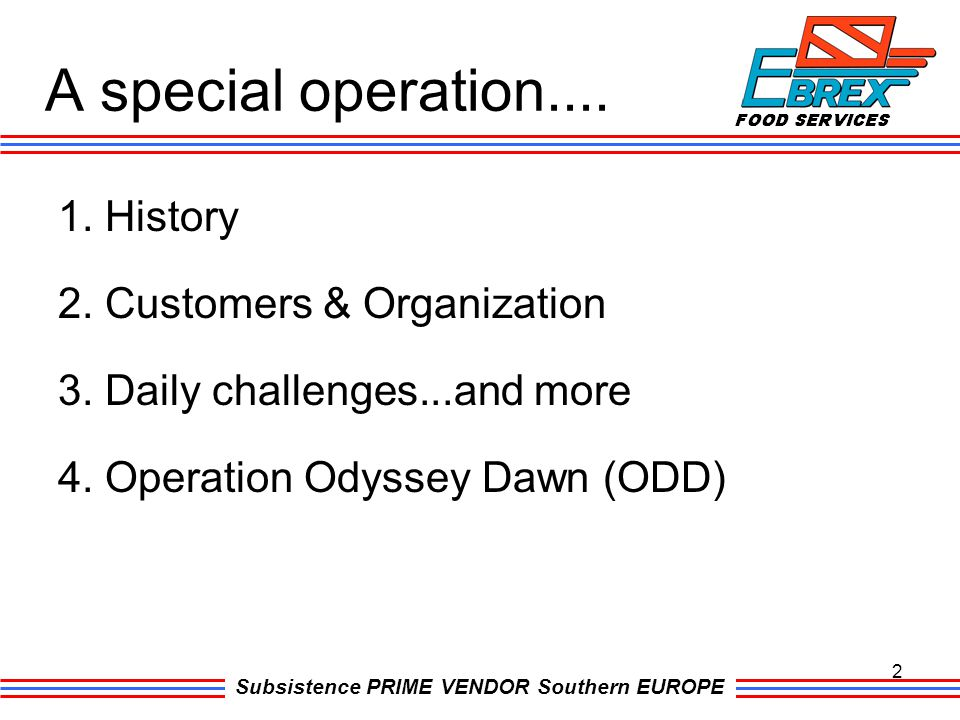 A special operation.... 1. History 2. Customers & Organization 3.