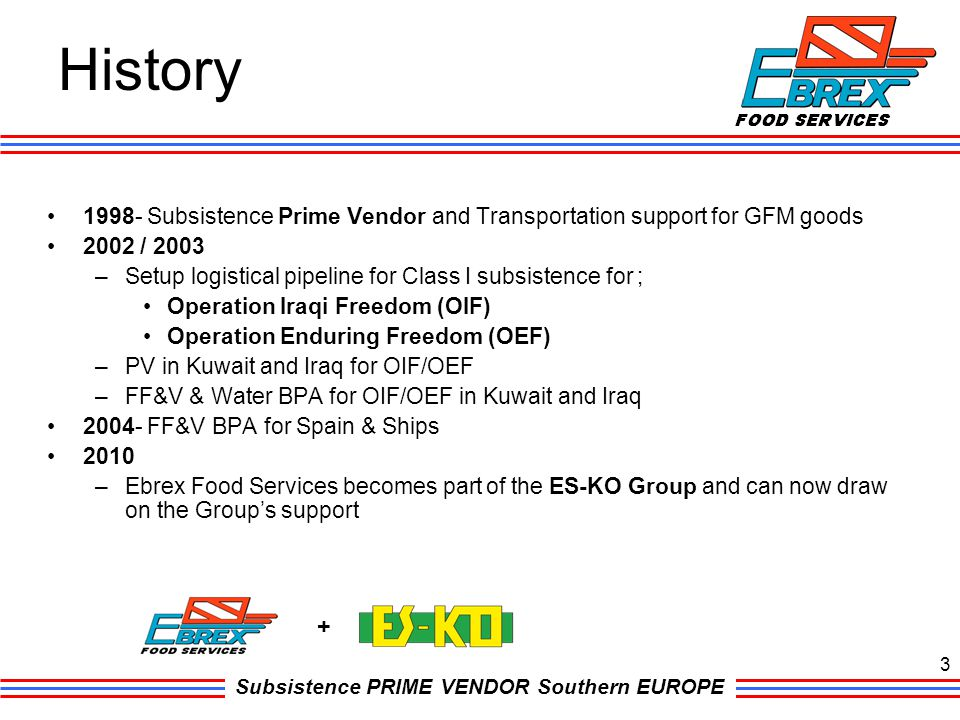 History 1998- Subsistence Prime Vendor and Transportation support for GFM goods. 2002 / 2003.