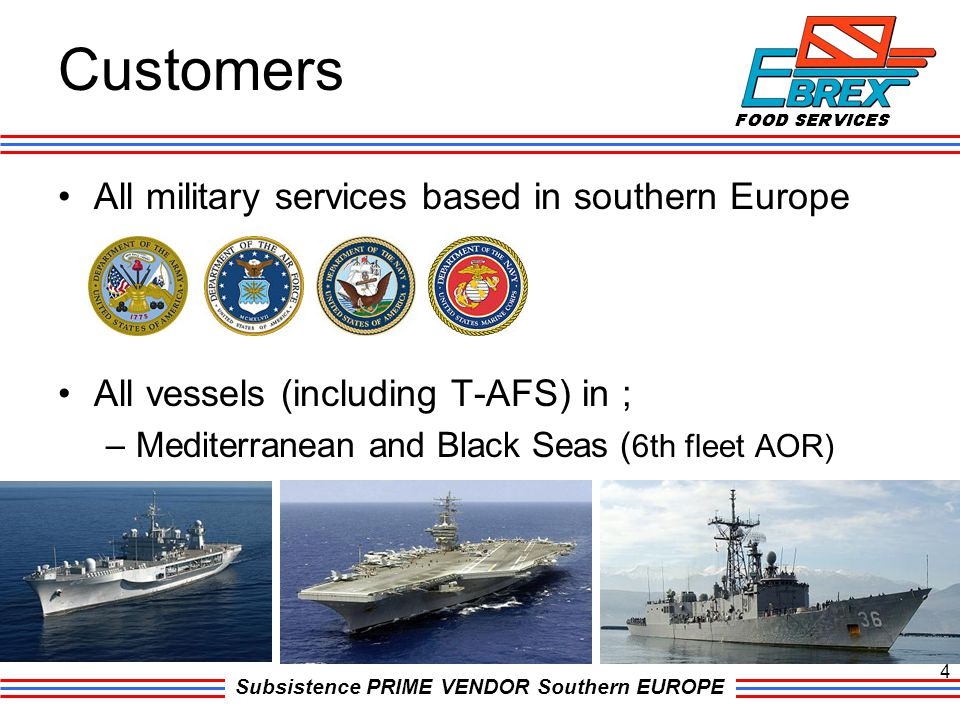 Customers All military services based in southern Europe