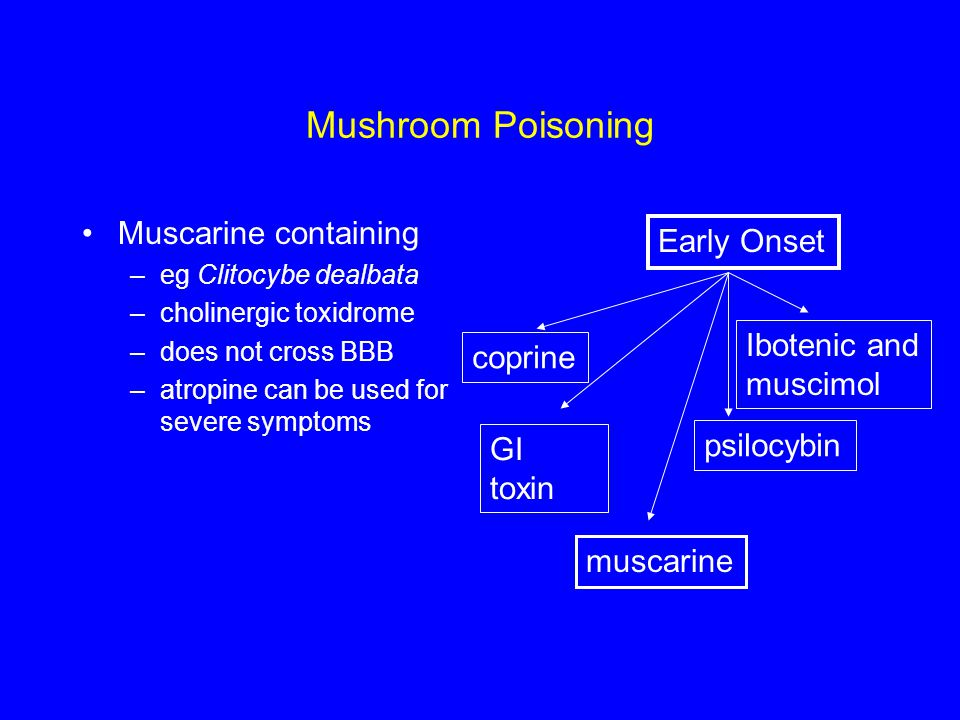 Mushroom Poisoning Muscarine containing Early Onset Ibotenic and