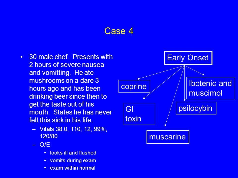 Case 4 Early Onset Ibotenic and coprine muscimol psilocybin GI toxin