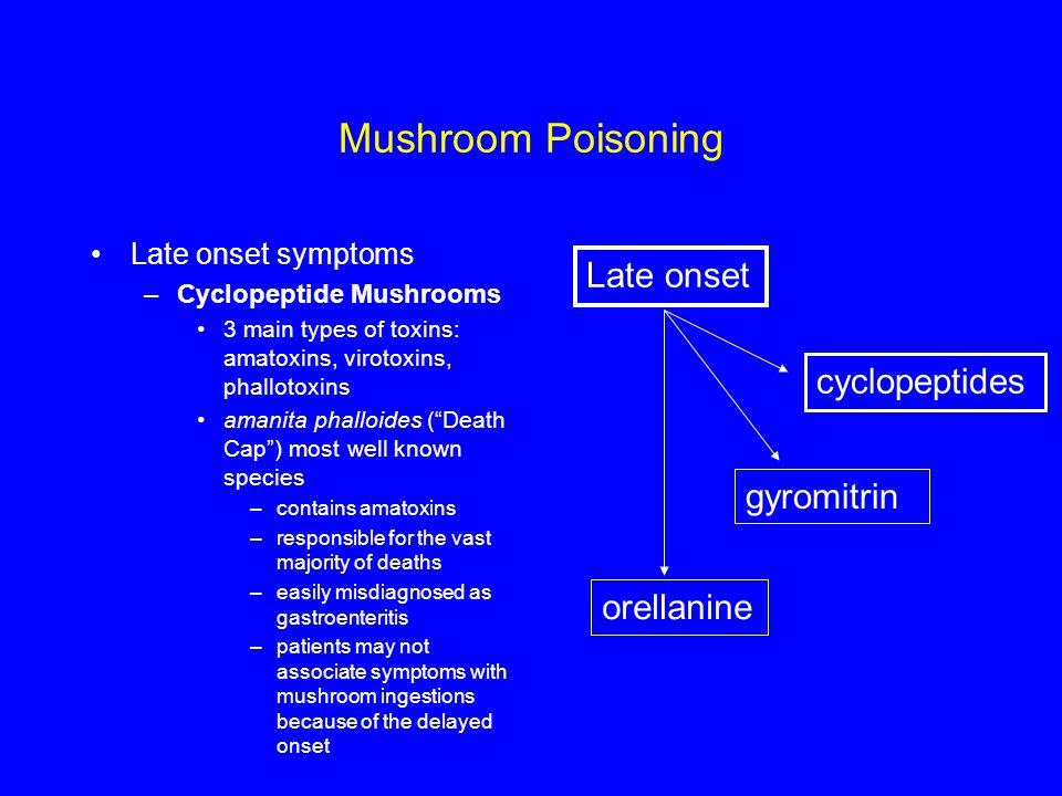Mushroom Poisoning Late onset cyclopeptides gyromitrin orellanine