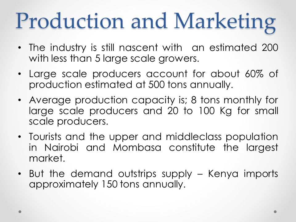 Production and Marketing