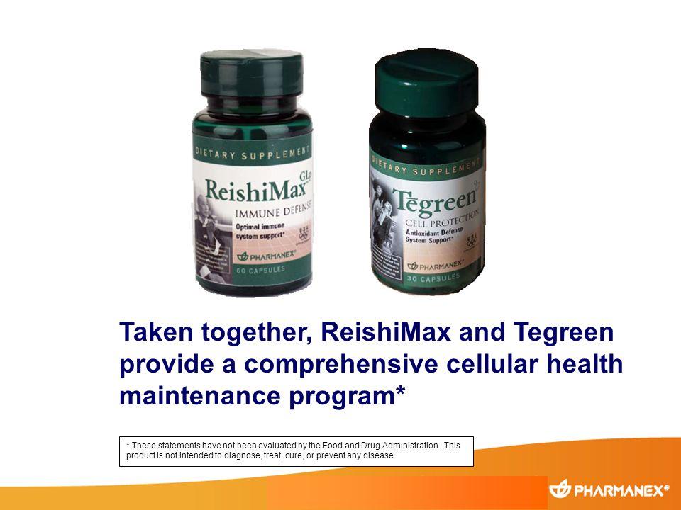 Taken together, ReishiMax and Tegreen provide a comprehensive cellular health maintenance program*