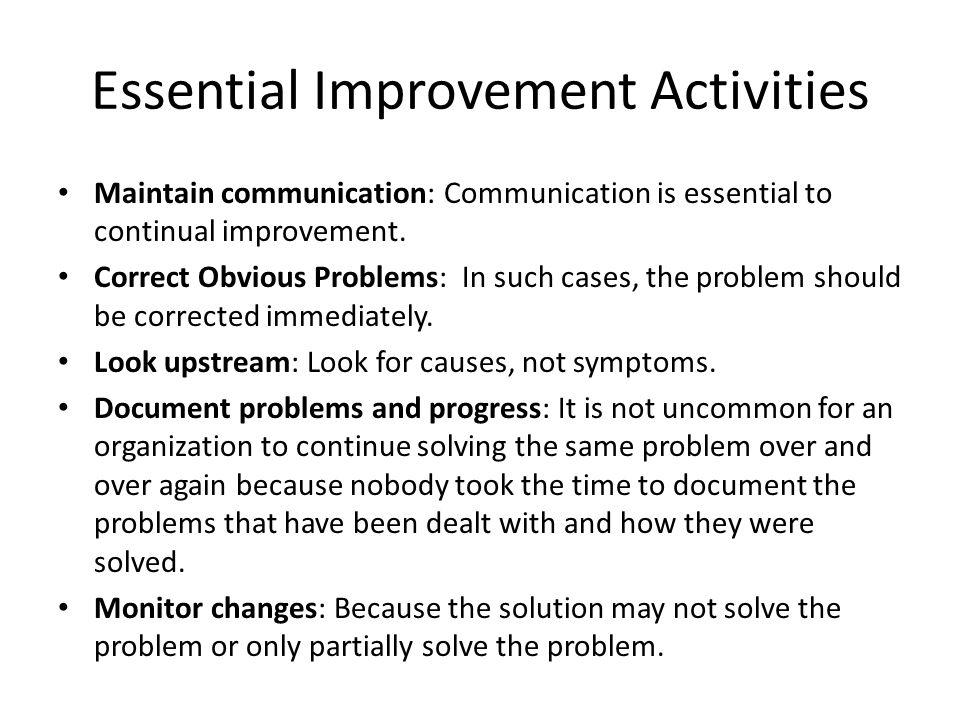 Essential Improvement Activities