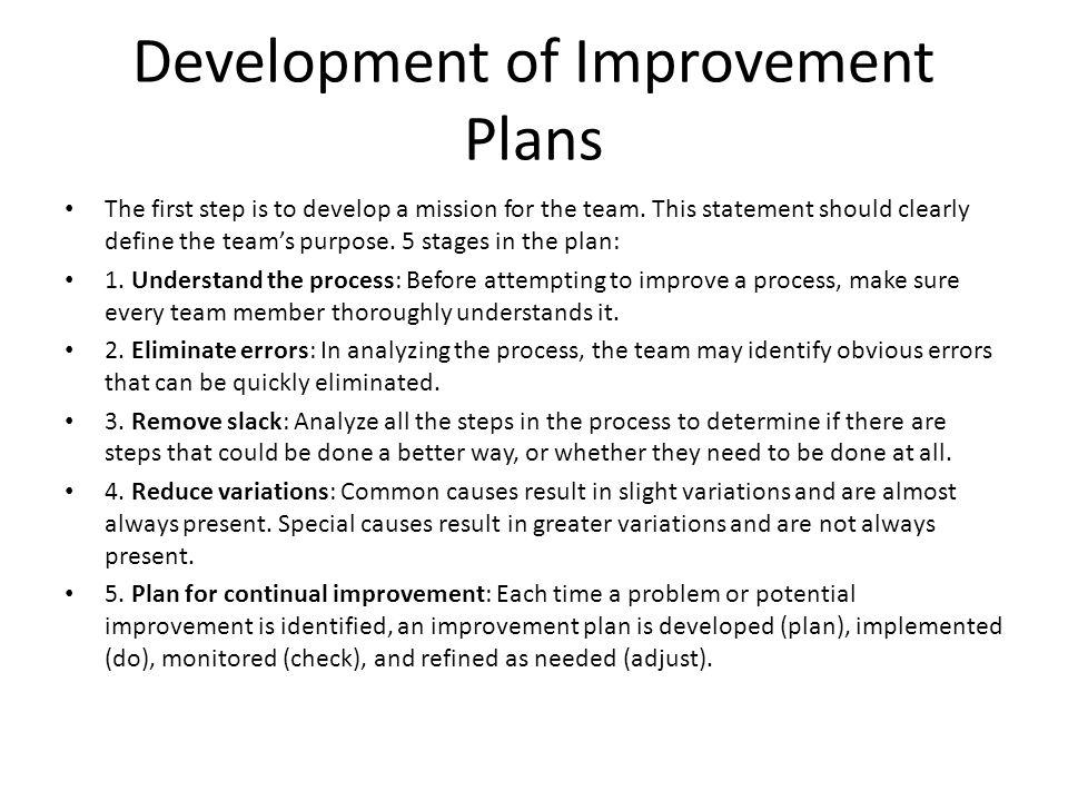 Development of Improvement Plans