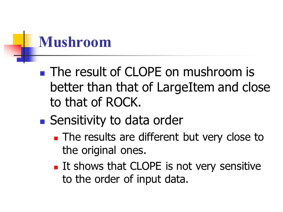 Mushroom The result of CLOPE on mushroom is better than that of LargeItem and close to that of ROCK.