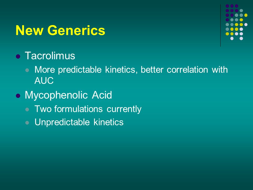 New Generics Tacrolimus Mycophenolic Acid