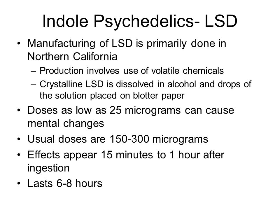 Indole Psychedelics- LSD