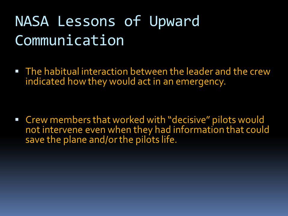 NASA Lessons of Upward Communication