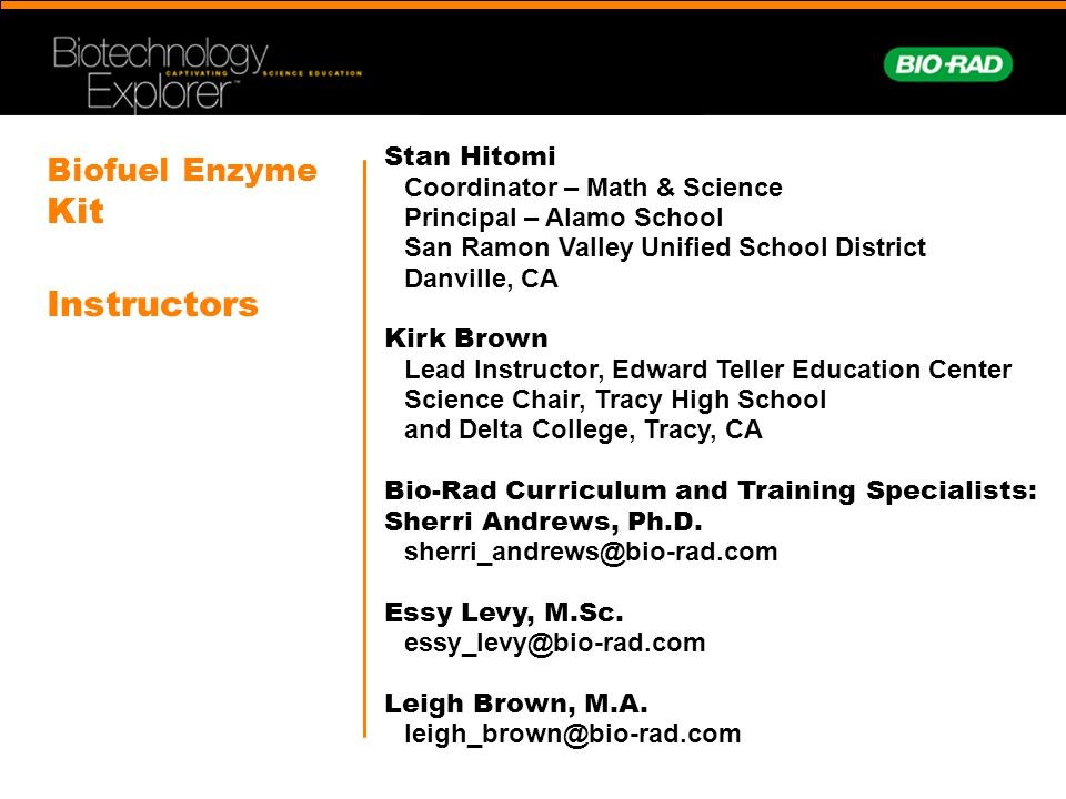 Biofuel Enzyme Kit Instructors