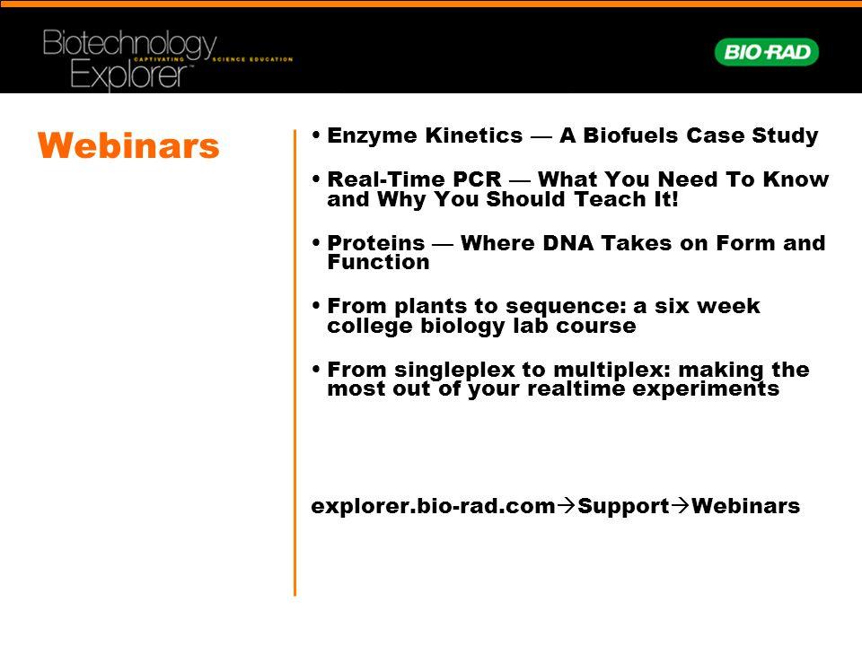 Webinars Enzyme Kinetics — A Biofuels Case Study
