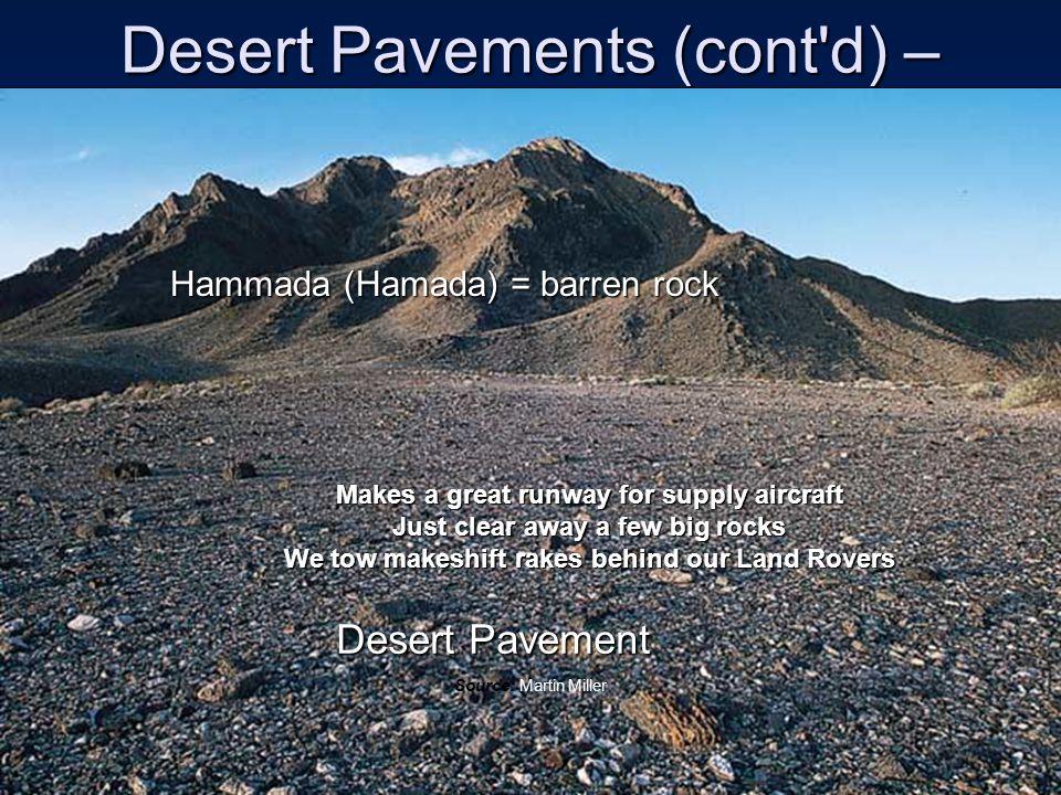 Desert Pavements (cont d) –