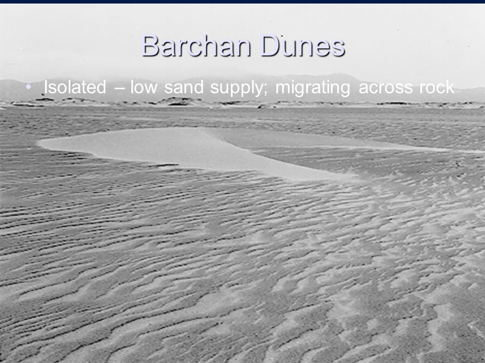 Barchan Dunes Isolated – low sand supply; migrating across rock