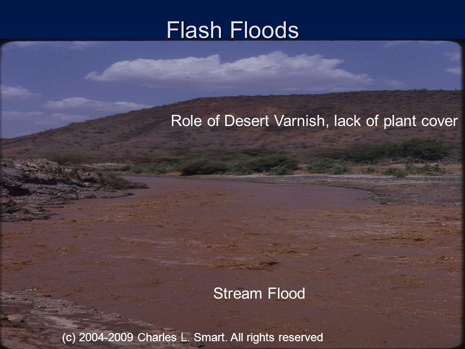 Flash Floods Role of Desert Varnish, lack of plant cover Stream Flood