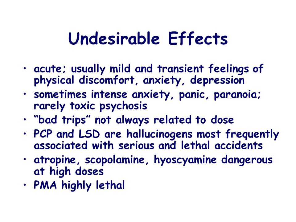 Undesirable Effects acute; usually mild and transient feelings of physical discomfort, anxiety, depression.