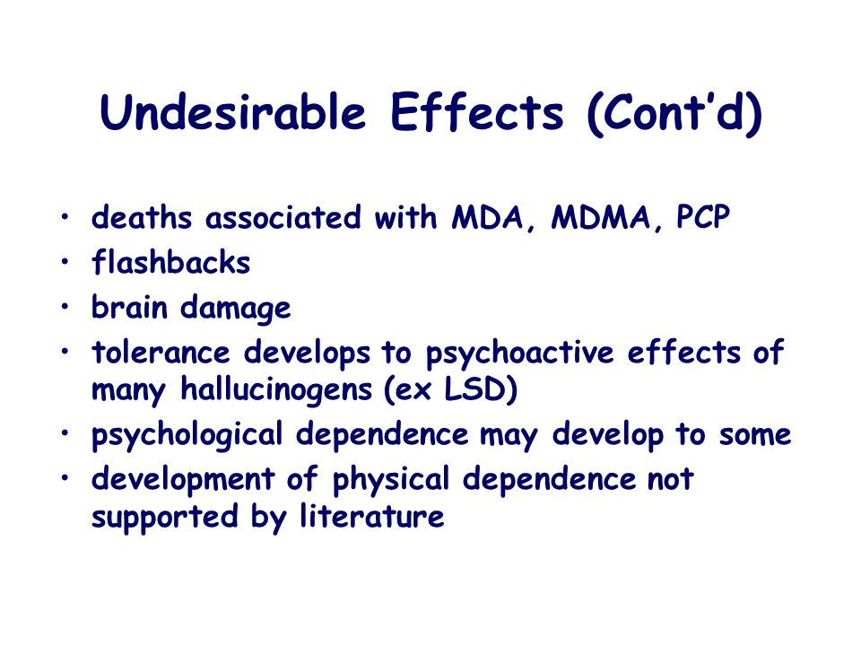 Undesirable Effects (Cont'd)