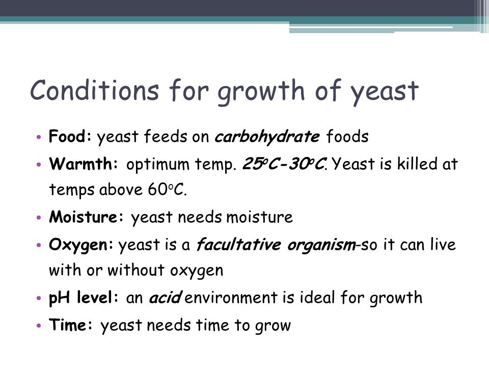 Conditions for growth of yeast