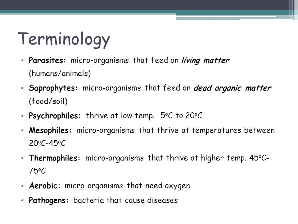 Terminology Parasites: micro-organisms that feed on living matter (humans/animals)