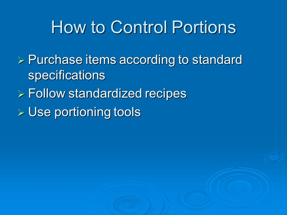 How to Control Portions