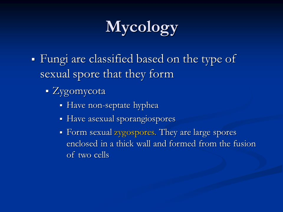 Mycology Fungi are classified based on the type of sexual spore that they form. Zygomycota. Have non-septate hyphea.