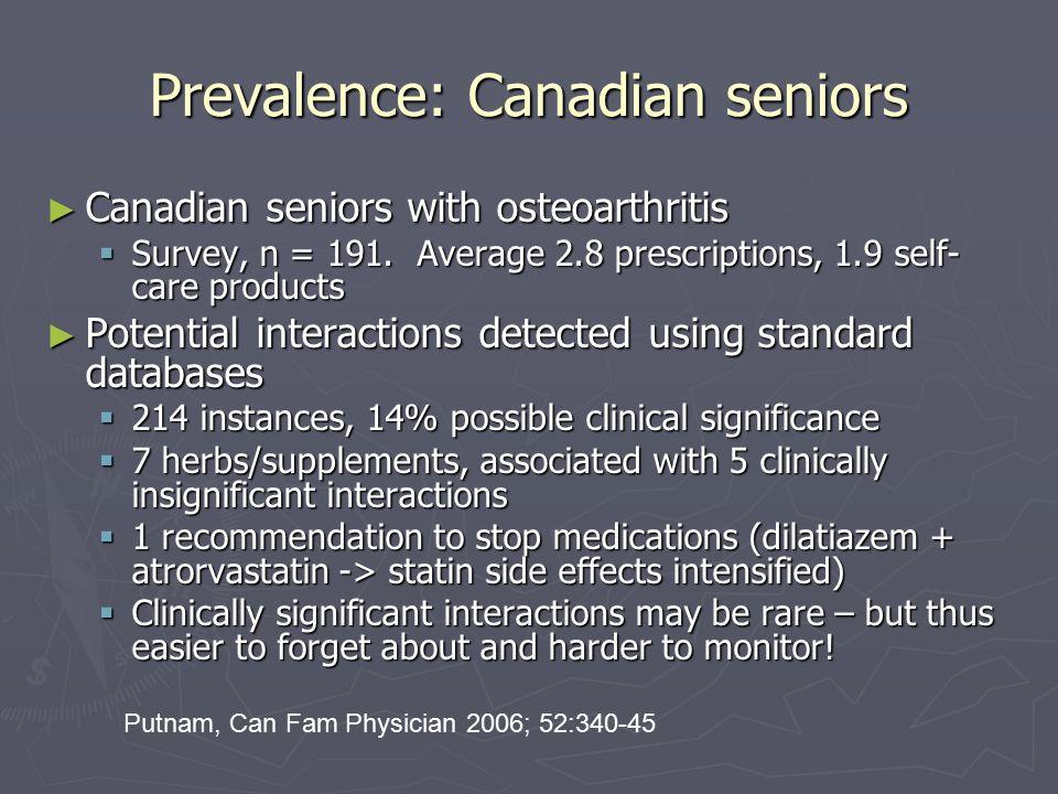 Prevalence: Canadian seniors