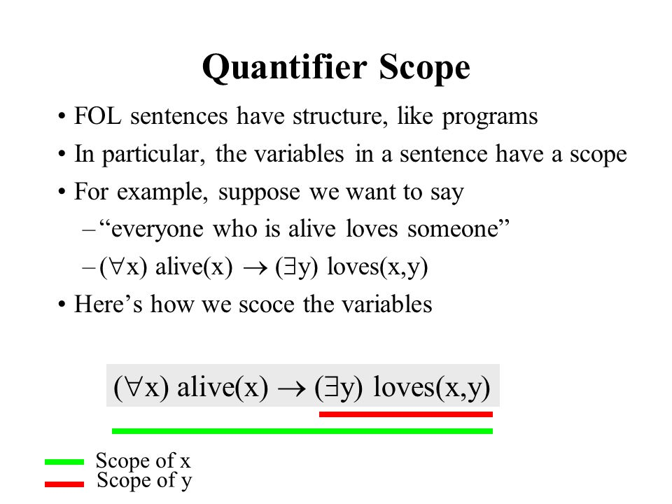 Quantifier Scope (x) alive(x)  (y) loves(x,y)