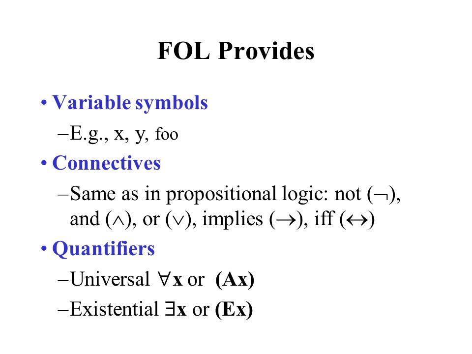 FOL Provides Variable symbols E.g., x, y, foo Connectives