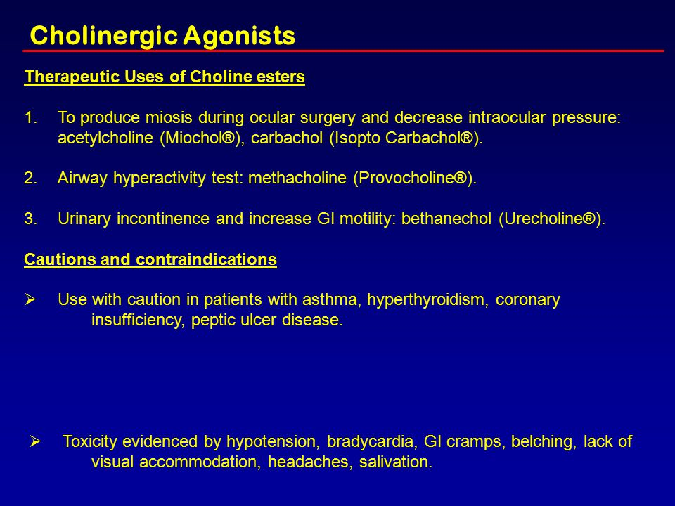 Cholinergic Agonists Therapeutic Uses of Choline esters