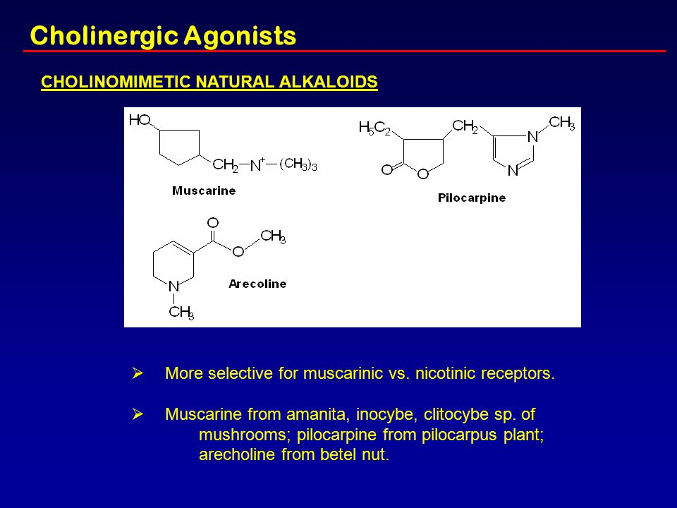 Cholinergic Agonists CHOLINOMIMETIC NATURAL ALKALOIDS