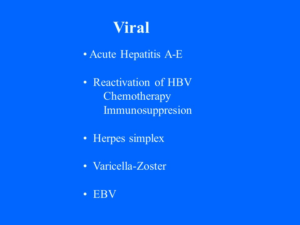 Viral Acute Hepatitis A-E Reactivation of HBV Chemotherapy