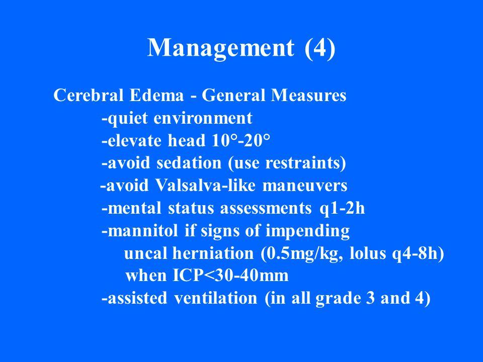 Management (4) Cerebral Edema - General Measures -quiet environment