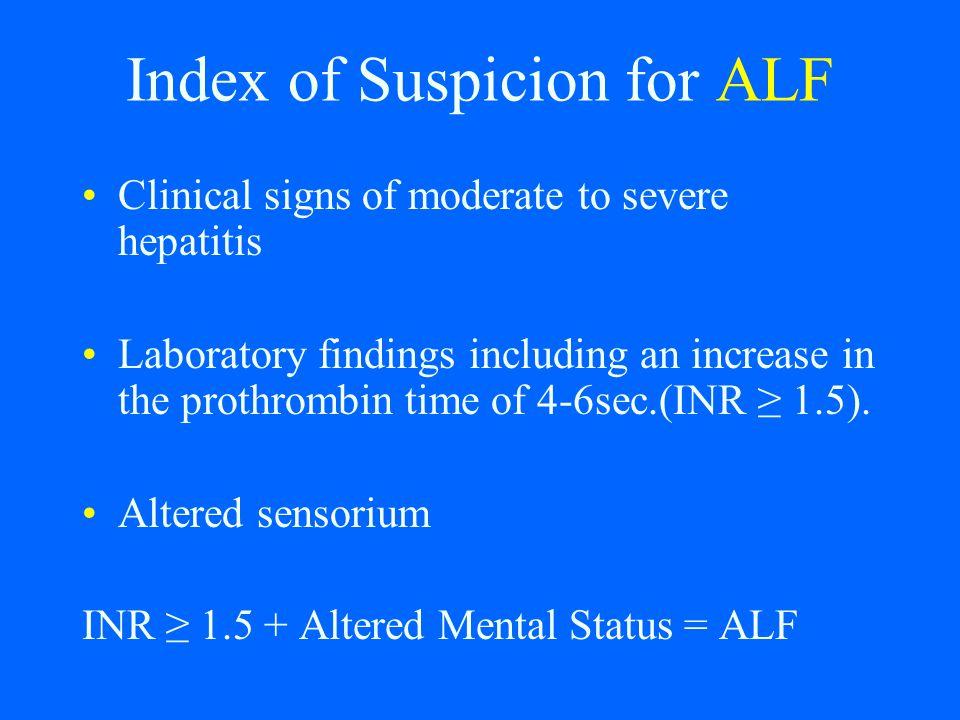 Index of Suspicion for ALF