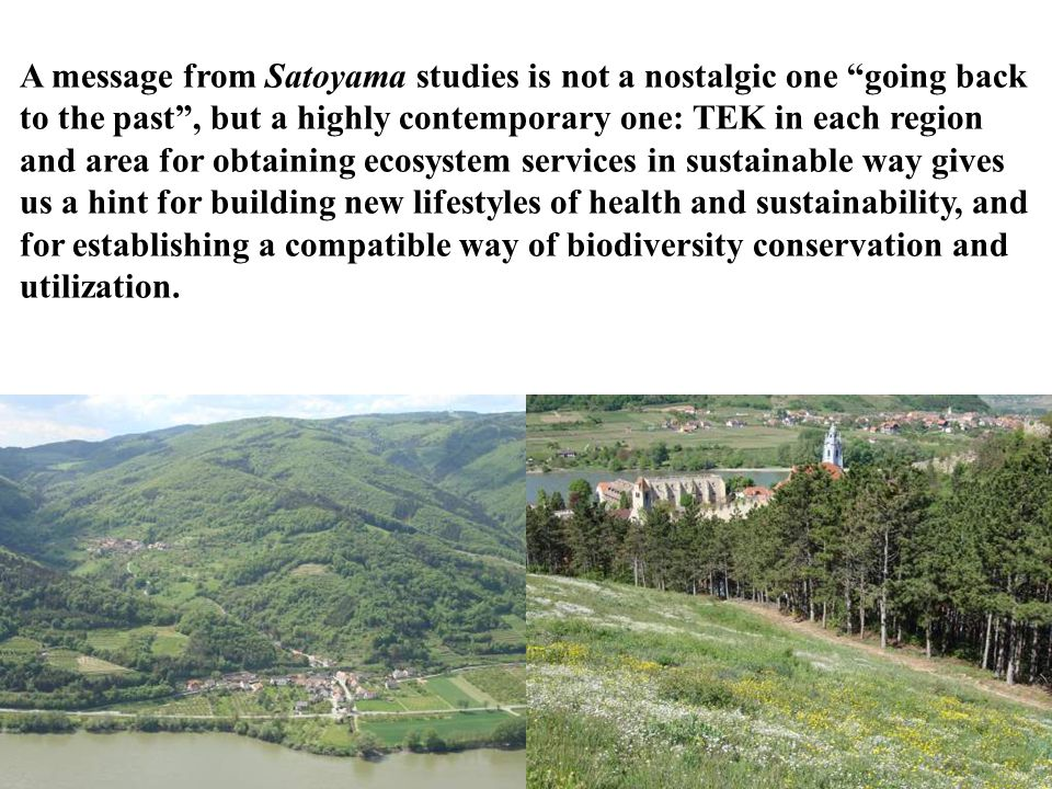 A message from Satoyama studies is not a nostalgic one going back to the past , but a highly contemporary one: TEK in each region and area for obtaining ecosystem services in sustainable way gives us a hint for building new lifestyles of health and sustainability, and for establishing a compatible way of biodiversity conservation and utilization.