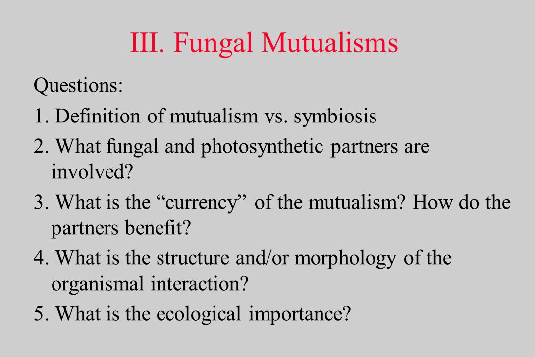 III. Fungal Mutualisms Questions: