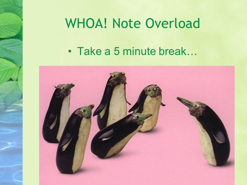 WHOA! Note Overload Take a 5 minute break…