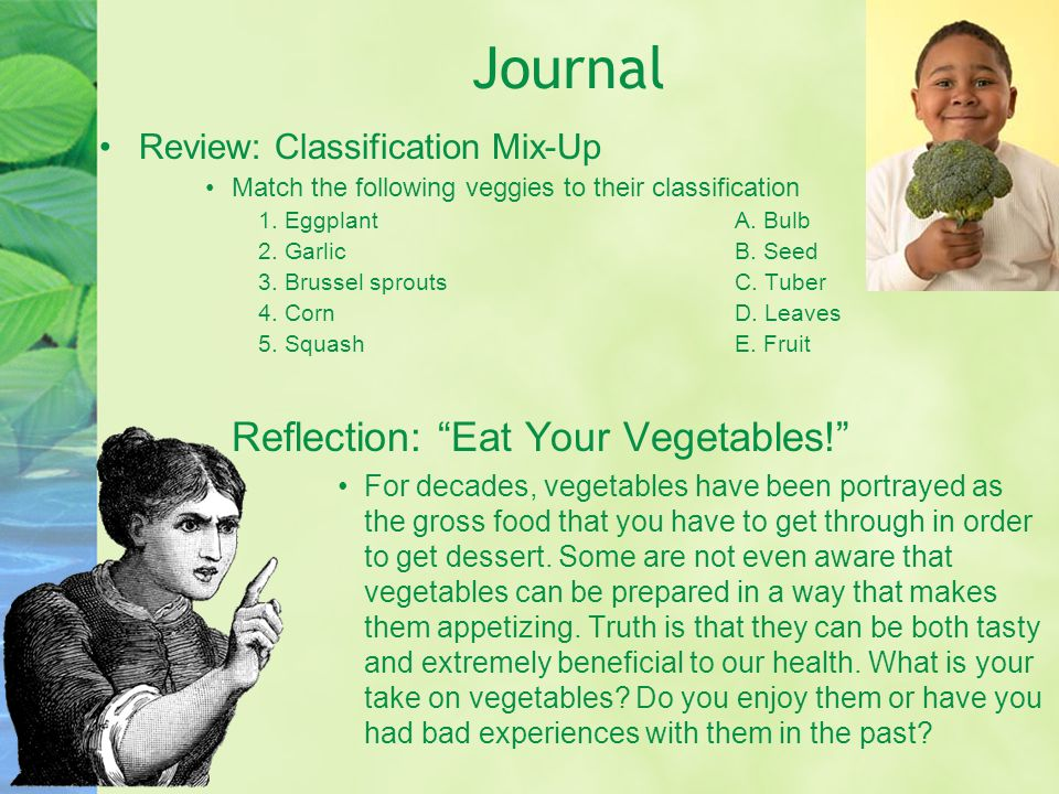 Journal Reflection: Eat Your Vegetables!