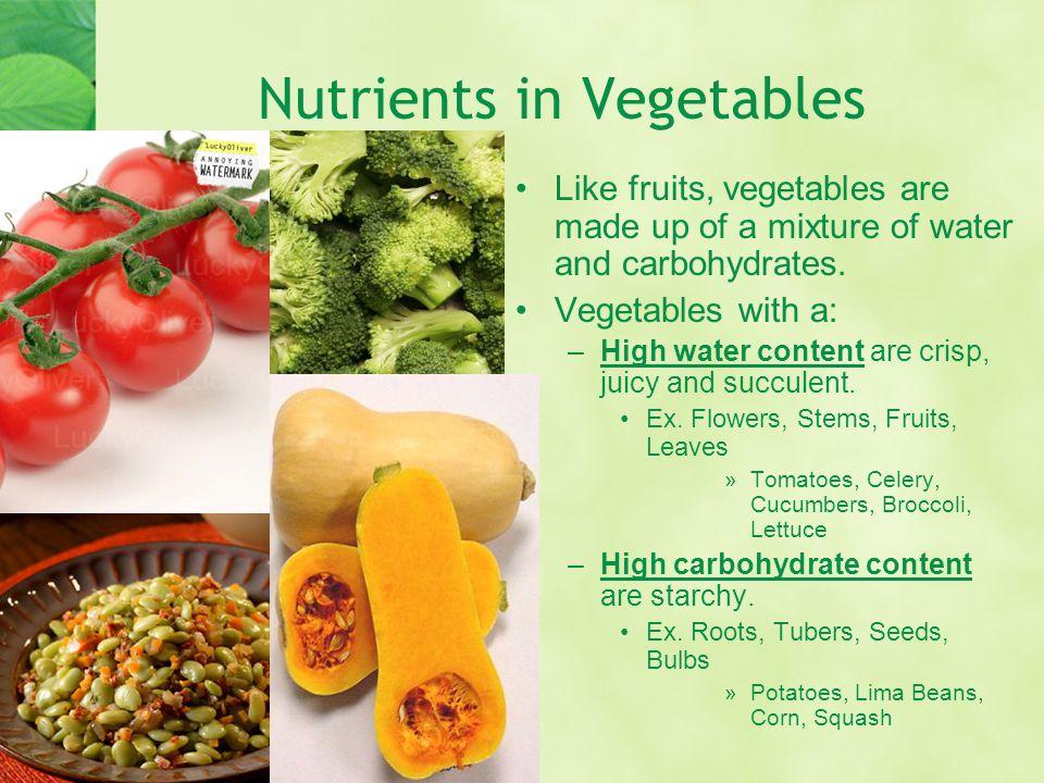 Nutrients in Vegetables