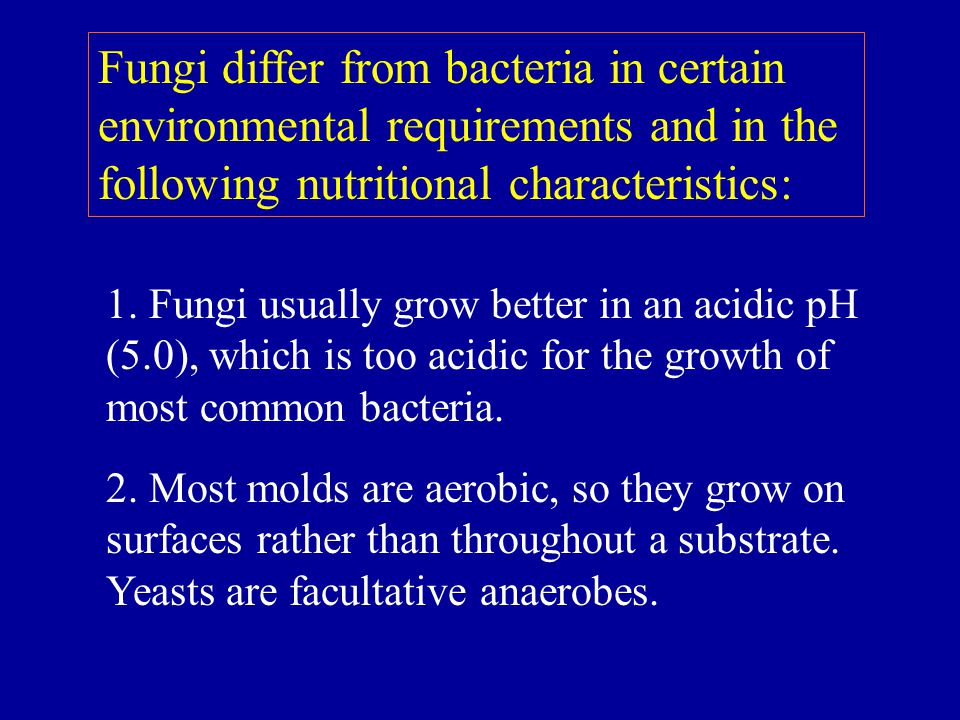 Fungi differ from bacteria in certain environmental requirements and in the following nutritional characteristics:
