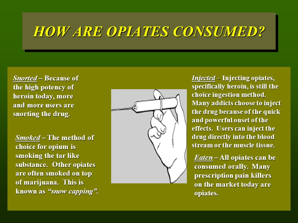 HOW ARE OPIATES CONSUMED