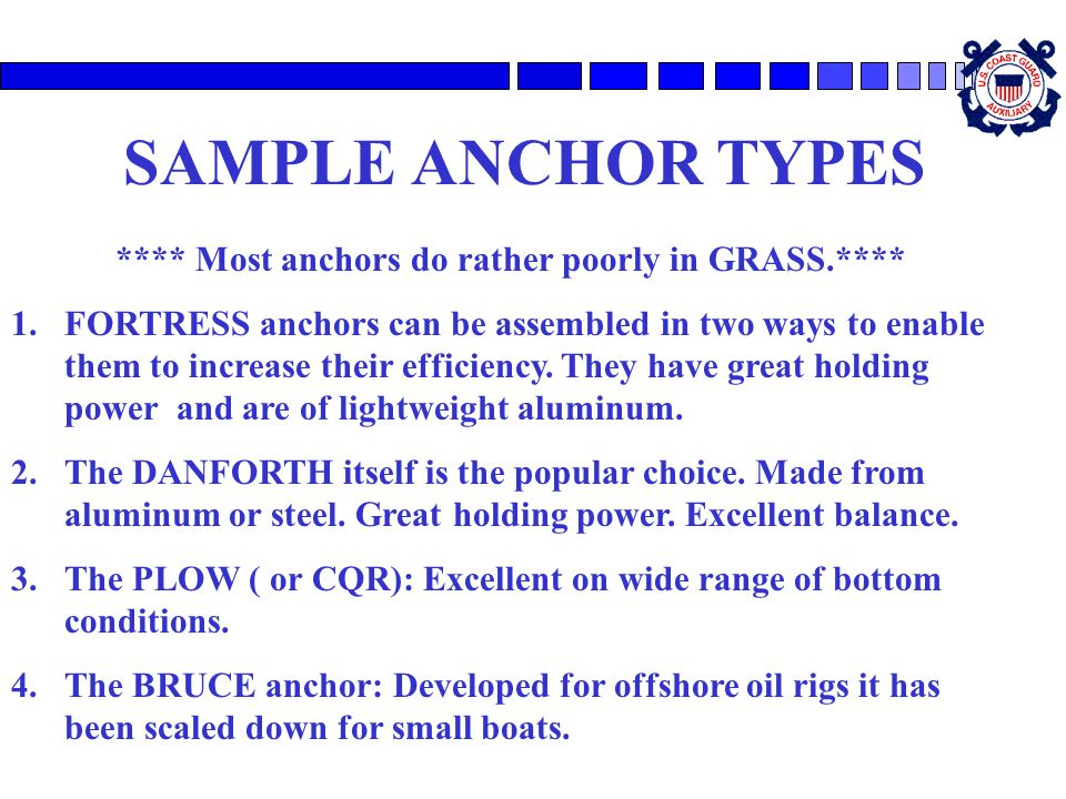 **** Most anchors do rather poorly in GRASS.****