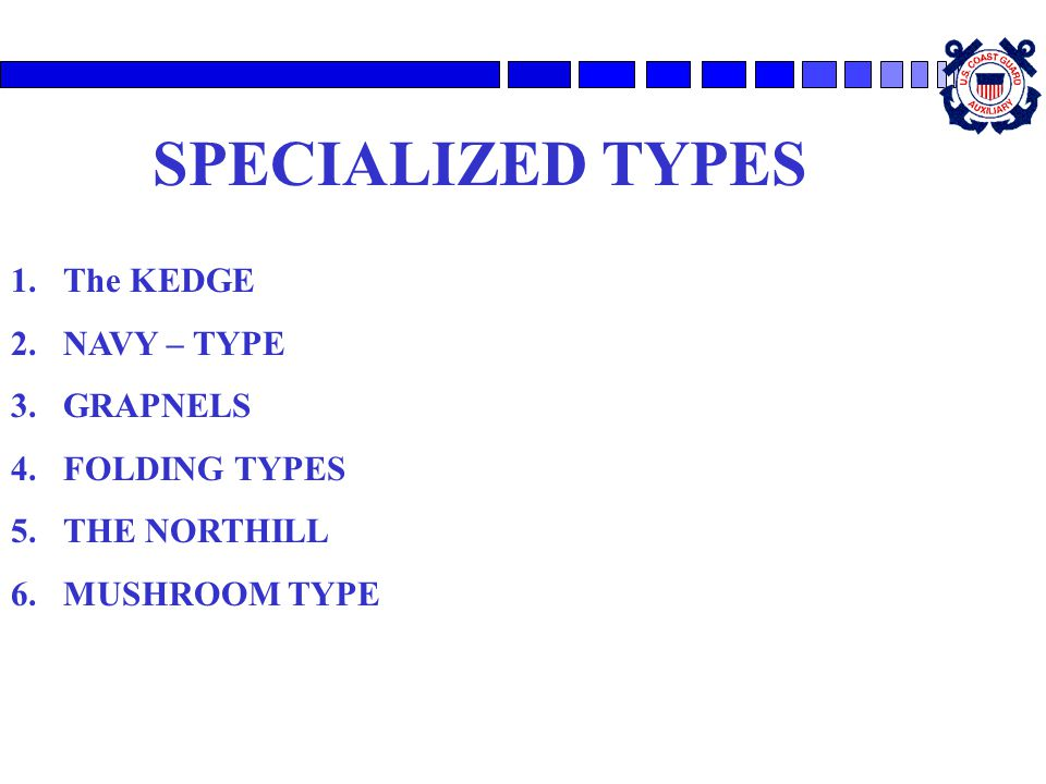 SPECIALIZED TYPES The KEDGE NAVY – TYPE GRAPNELS FOLDING TYPES