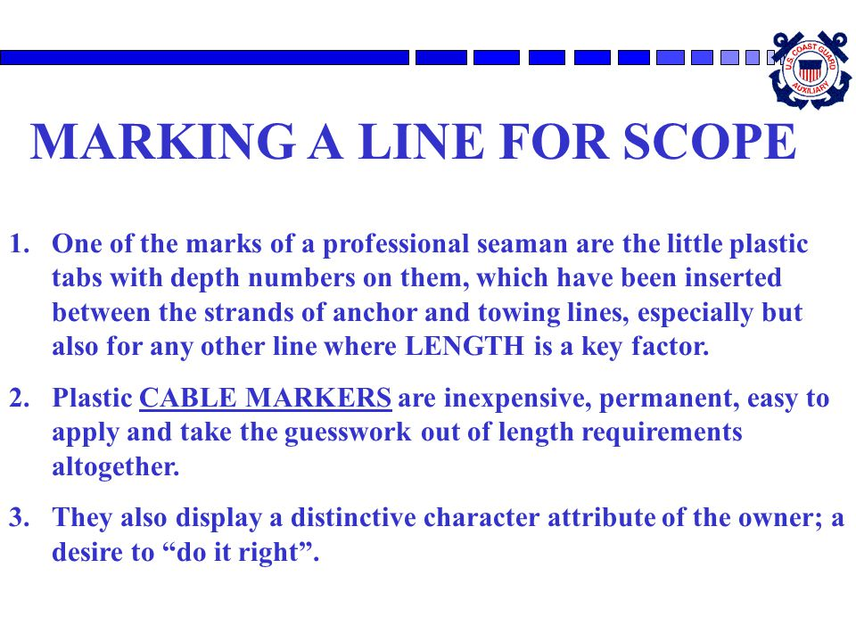 MARKING A LINE FOR SCOPE