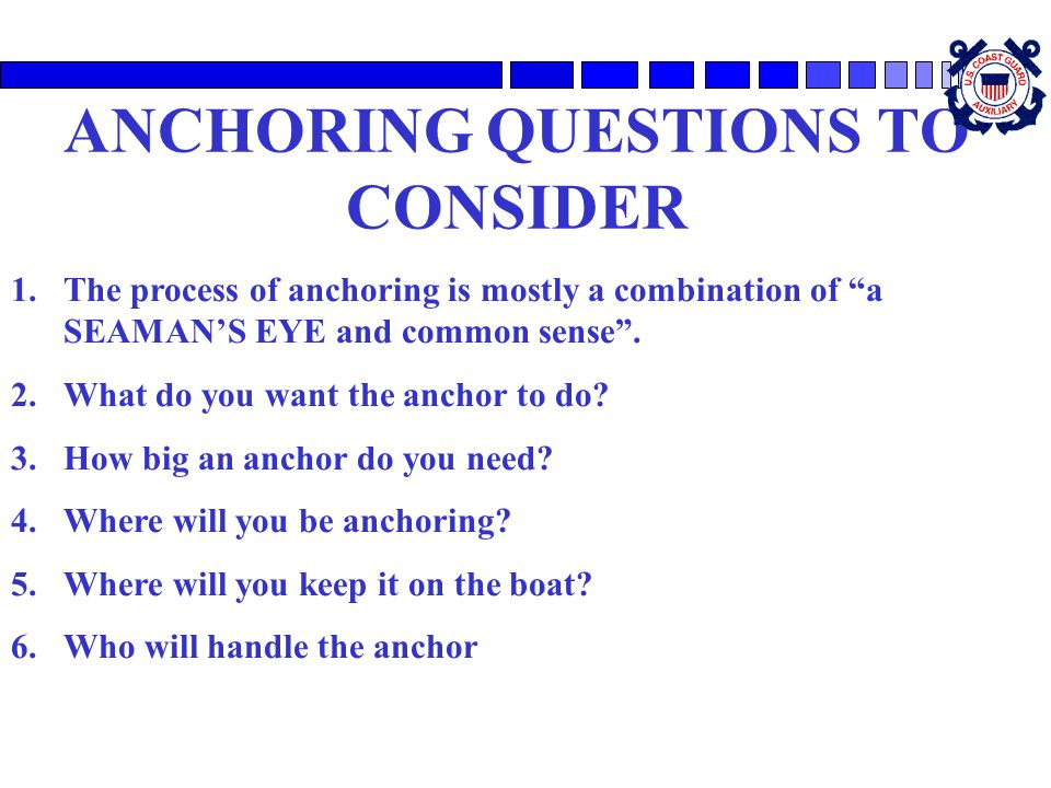 ANCHORING QUESTIONS TO CONSIDER